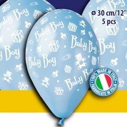 """12"""" Μπαλόνι γαλάζιο baby boy (5 τεμ)"""