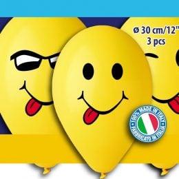 """12"""" Μπαλόνια Smiley Faces (3 τεμ)"""
