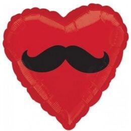 Μπαλόνι αγάπης Καρδιά κόκκινη Μουστάκι 45 εκ