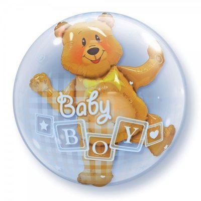 Μπαλόνι Bubble διπλό Αρκουδάκι Baby Boy 60 εκ