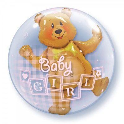 Μπαλόνι Bubble διπλό Αρκουδάκι Baby Girl 60 εκ