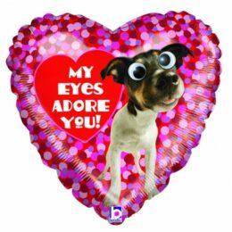 """Μπαλόνι Καρδιά σκυλάκι """"Adore you"""" 45 εκ"""