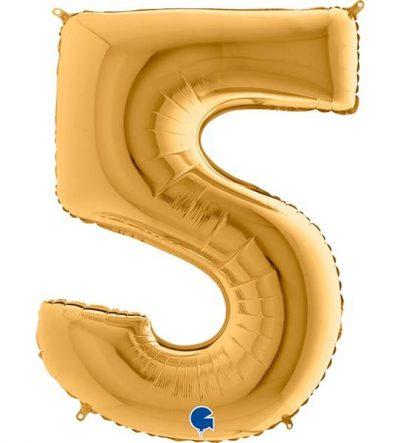 Τεράστιο Μπαλόνι 100 εκ Χρυσό Αριθμός 5