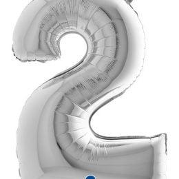 Τεράστιο Μπαλόνι 102 εκ Ασημί Αριθμός 2