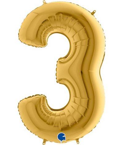 Τεράστιο Μπαλόνι 102 εκ Χρυσό Αριθμός 3