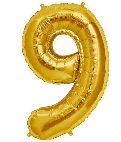 Τεράστιο Μπαλόνι 100 εκ Χρυσό Αριθμός 9