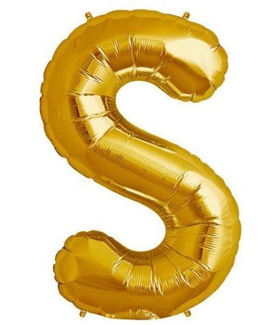 Τεράστιο Μπαλόνι 100 εκ Χρυσό Γράμμα S
