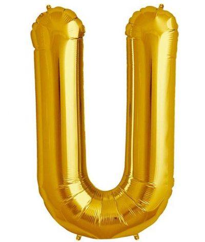 Τεράστιο Μπαλόνι 100 εκ Χρυσό Γράμμα U