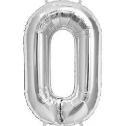 Μπαλόνι 40 εκ Ασημί Αριθμός 0