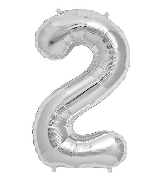 Μπαλόνι 40 εκ Ασημί Αριθμός 2