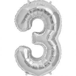 Μπαλόνι 40 εκ Ασημί Αριθμός 3