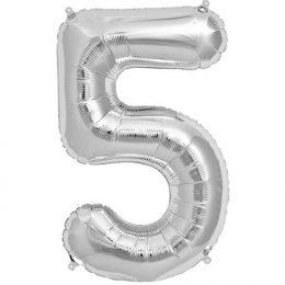 Μπαλόνι 40 εκ Ασημί Αριθμός 5
