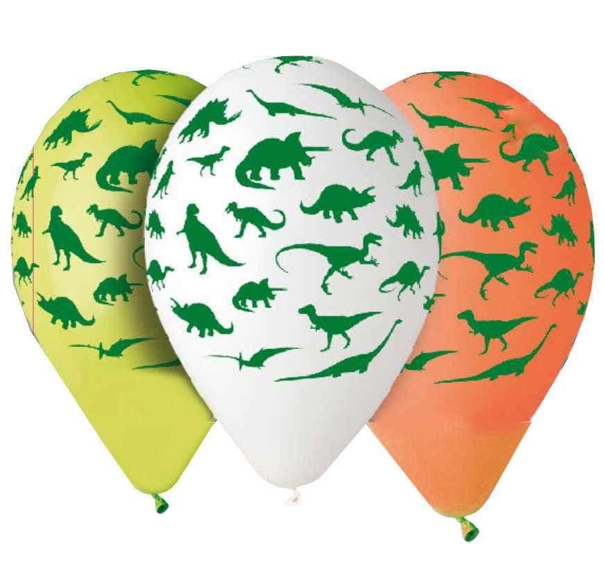 """12"""" Μπαλόνια τυπωμένα Δεινόσαυροι (5 τεμ)"""