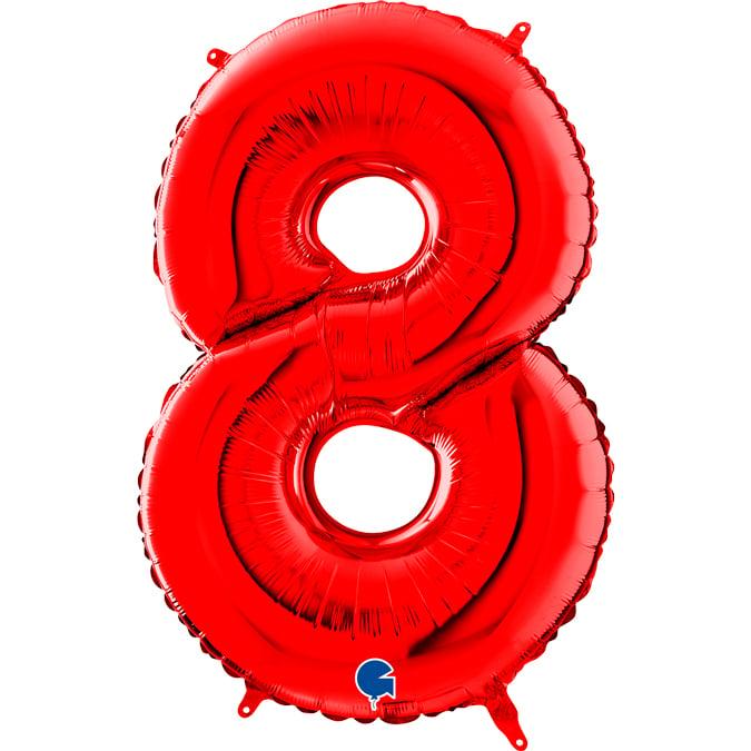 Τεράστιο Κόκκινο Μπαλόνι Αριθμός 8 100 εκ