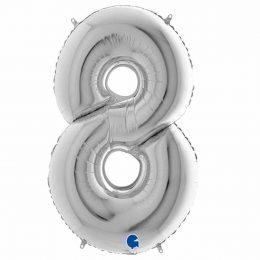 Τεράστιο Μπαλόνι 100 εκ Ασημί Αριθμός 8