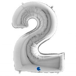τεράστιο μπαλόνι 102 εκ αριθμός ασημί αριθμός 2