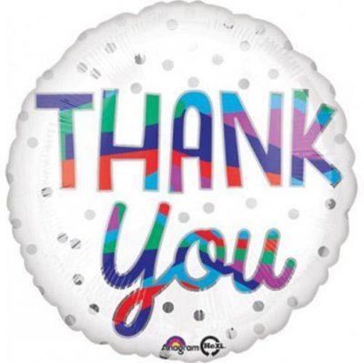 """Μπαλόνι άσπρο πουά """"Thank You"""""""