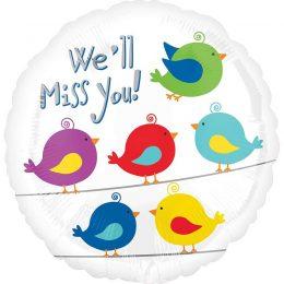 """Μπαλόνι πουλάκια """"We'll miss you"""" 43 εκ"""