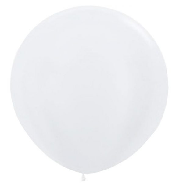 90cm - 36'' Άσπρο περλέ μεγάλο μπαλόνι