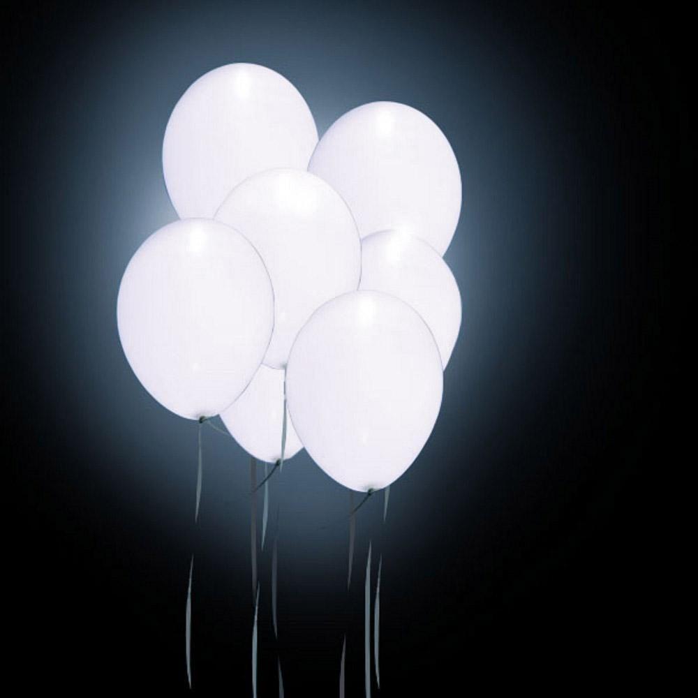 12″ Λευκό Μπαλόνι με φωτάκι LED (4 τεμ)