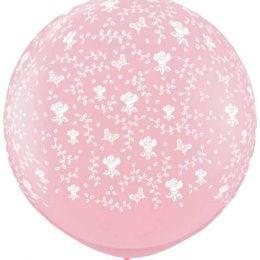 36″ μπαλόνι τυπωμένο Λουλούδια ροζ