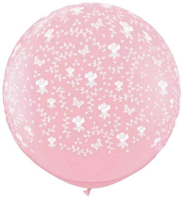 """36"""" μπαλόνι τυπωμένο Λουλούδια ροζ"""