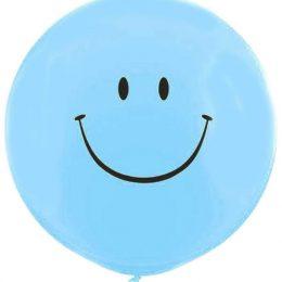 36″ μπαλόνι τυπωμένο Smile Face γαλάζιο