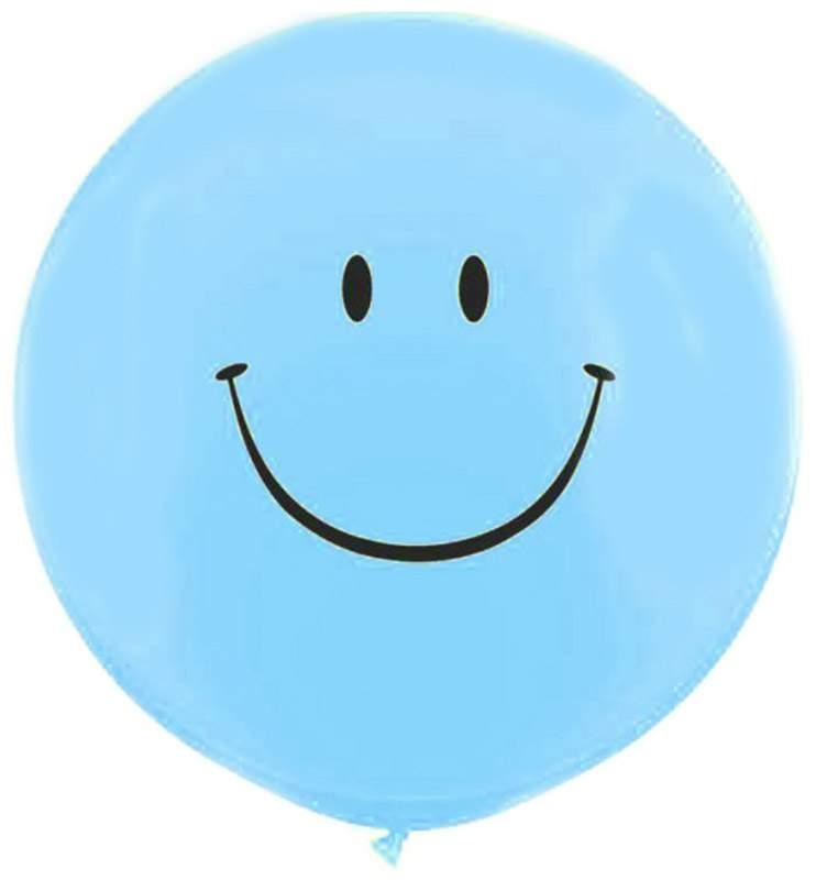 """36"""" μπαλόνι τυπωμένο Smile Face γαλάζιο"""
