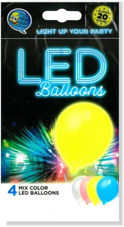 """12"""" Μπαλόνι φωτάκι LED 4 χρώματα (4 τεμ)"""