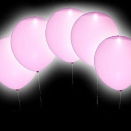 12″ Ροζ Μπαλόνι με φωτάκι LED (4 τεμ)