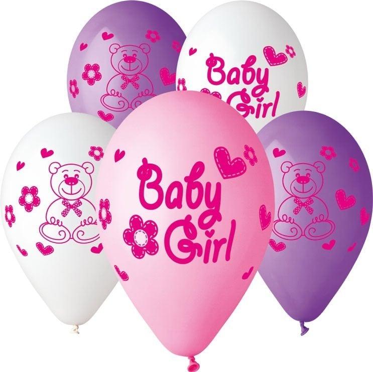 """12"""" Μπαλόνι Baby girl αρκουδάκι"""