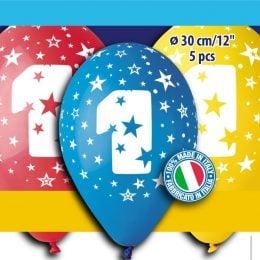 12″ Μπαλόνι γενέθλια Νο 1 (5 τεμ)