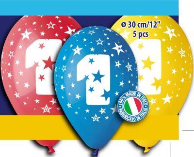 """12"""" Μπαλόνι γενέθλια Νο 1 (5 τεμ)"""