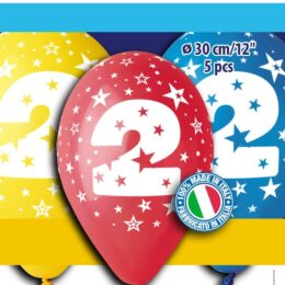 12″ Μπαλόνια γενέθλια Νο 2 (5 τεμ)