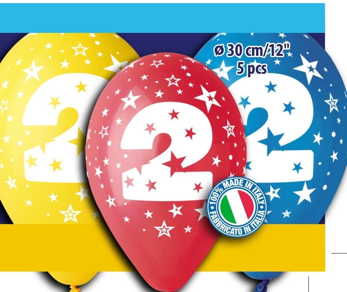 """12"""" Μπαλόνια γενέθλια Νο 2 (5 τεμ)"""