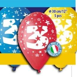 12″ Μπαλόνι γενέθλια Νο 3 (5 τεμ)