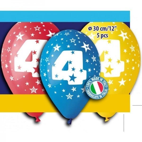 """12"""" Μπαλόνι γενέθλια Νο 4 (5 τεμ)"""