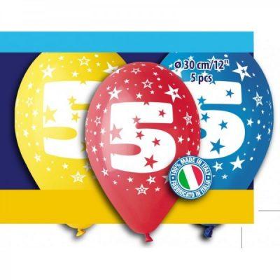 """12"""" Μπαλόνι γενέθλια Νο 5 (5 τεμ)"""