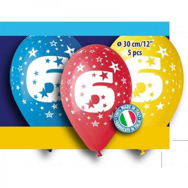 """12"""" Μπαλόνι γενέθλια Νο 6 (5 τεμ)"""