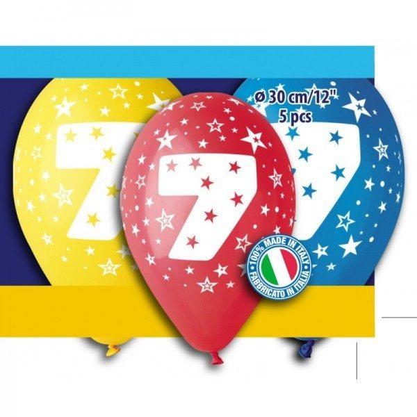 """12"""" Μπαλόνι γενέθλια Νο 7 (5 τεμ)"""