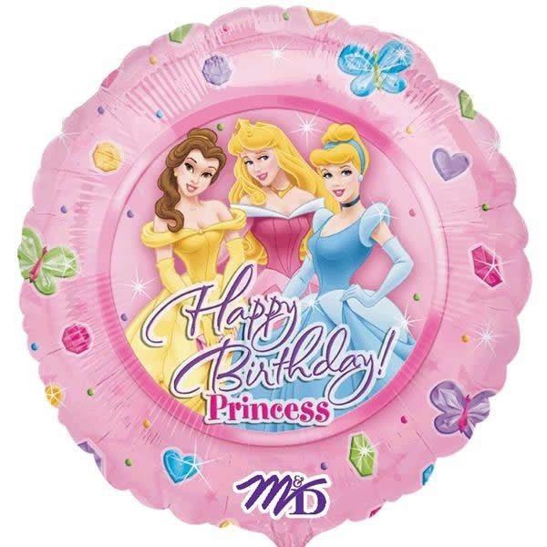 Μπαλόνι Happy Birthday Πριγκίπισσες ροζ 45 εκ