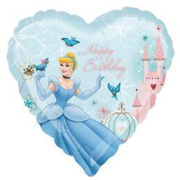 Μπαλόνι καρδιά Σταχτοπούτα Happy birthday 45 εκ