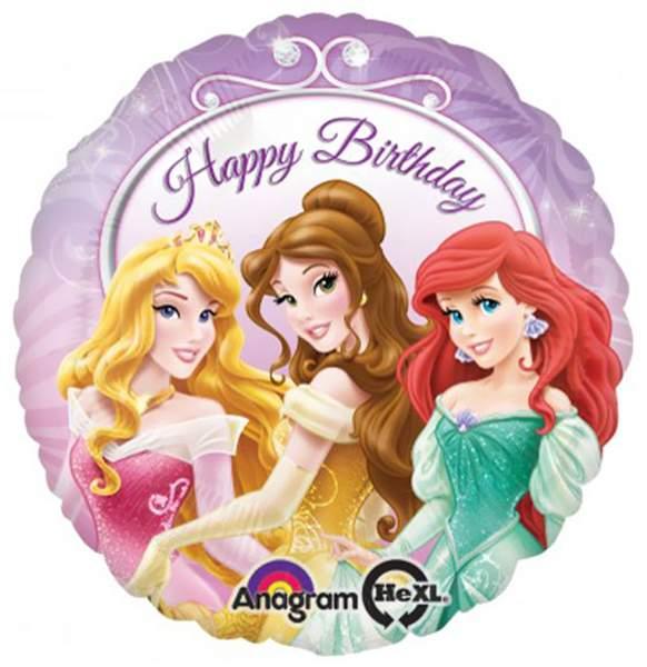 Μπαλόνι Happy Birthday Πριγκίπισσες μωβ 45 εκ