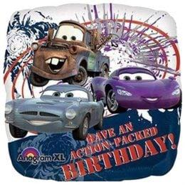 """Μπαλόνι τετράγωνο Cars """"Happy Bday"""" 45 εκ"""