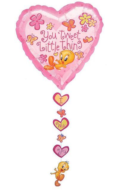 Μπαλόνι Tweety καρδιά με κρεμαστή κορδέλα