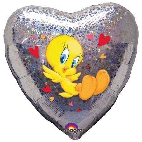 Μπαλόνι Tweety ασημί Καρδιά 45 εκ