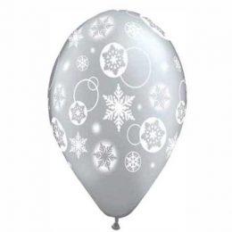 16″ Μπαλόνι τυπωμένο Ασημί Χιονονυφάδες