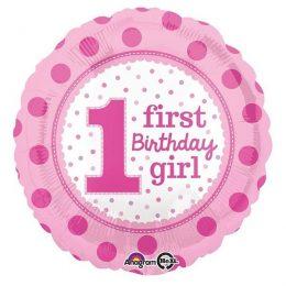 Μπαλόνι Ροζ First Birthday Girl 45 εκ