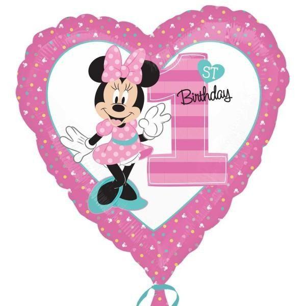 Μπαλόνι Καρδιά Minnie 1st Birthday 45 εκ