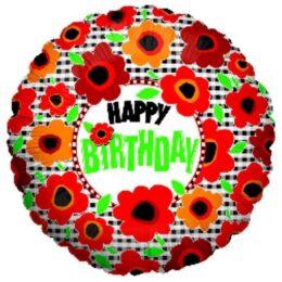 Μπαλόνι για γενέθλια Παπαρούνες 'Happy Birthday'